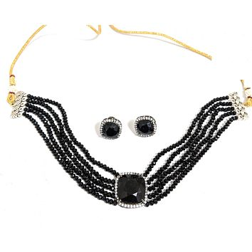 Shiny crystal bead chain with square pendant chick collar choker necklace and earring set