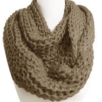 Peach Couture Hand Made Thick Chunky Knit Infinity loop Scarves in Cool Colors Black
