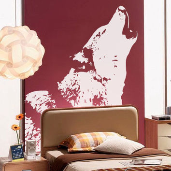 Vinyl Wall Decal Sticker Howling Wolf #522