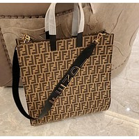 Fendi Classic Fashion Letter Embossed Handbag Large Capacity Canvas Shopping Bag Tote Bag Shoulder Bag