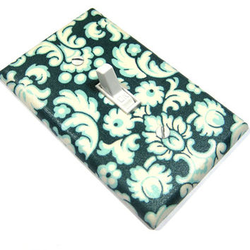 Teal Blue and White Damask Light Switch Cover LAST ONE - Christmas In July Sale CIJ -  87
