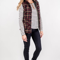 Red Glen Plaid Puffer Vest