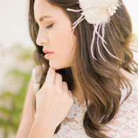 Feather hair fascinator, hair comb, headpiece - style 1115