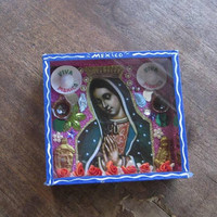 Vintage Senora/Lady of Guadalupe Diorama/Nicho/Collage in Cobalt Blue Hanging Box; 'Mexico' Souvenir Shadow Box/Catholic Wall Hanging/Altar