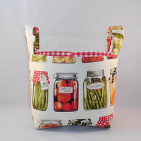 Cute Kitchen Canning Themed Fabric Basket With Handles For Storage Or Gift Giving