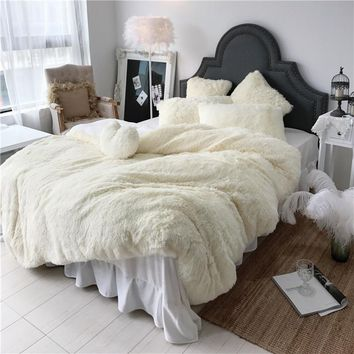 Cool 3/4/6/7 pcs Pure Color Mink Velvet Bedding Sets 8 colors lambs wool Fleece Duvet Cover set Bed skirt Fitted Twin Queen King sizeAT_93_12