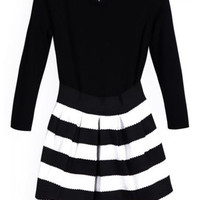 ROMWE | Vinyl Panel White-black Striped Slim Dress, The Latest Street Fashion