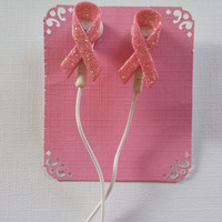 Pink  Breast cancer awareness earbuds