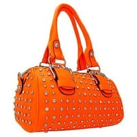 Gorgeous Buckles Bling Rhinestone & Stud Purse Top Handle Bag w/ Shoulder Strap Orange