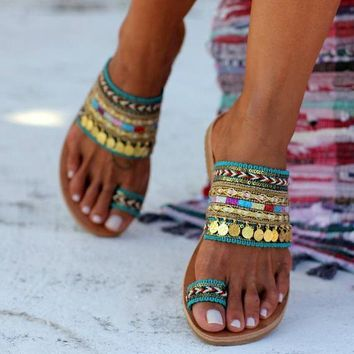 Ethnic style female hand-painted open toe flat sandals