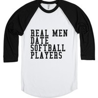 Real Men Date Softball Players-Unisex White/Black T-Shirt