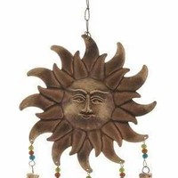 "Metal Glass SUN WINDCHIME 10""W 19""H"