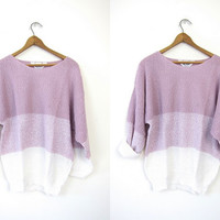 Nubby Purple Knit Sweater Ombre Preppy 80s Spring Knit Pullover Slouchy Liliac Long Sleeve White BOLD STRIPE Shirt Vintage Large XL