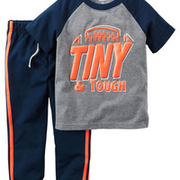 2-Piece Sporty Tee & Terry Pant Set