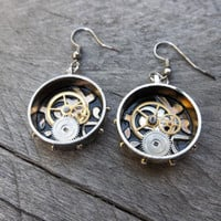 Clockpunk Steampunk Earrings, Antiqued Sterling Silver Rings with Black Enamel, Brass and Steel Gears on French Hooks