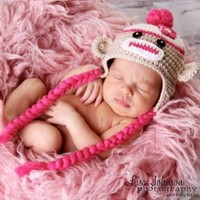Melondipity Sweet Sock Monkey with Braids Baby Hat Pink