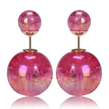Mise en Gum Tee Style Tribal Earrings  - Galaxy Fuschia