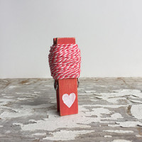 Pink and White Bakers Twine - 7 yards on a coral red clothespin. craft gift wrap / wrapping supplies. packaging, string, crafting, stripes