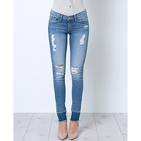 New Code Skinny Denim Jeans - Distressed