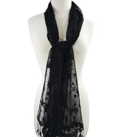 Rockabilly Star Night Stars Burnout Lace Fringes Scarf Shawl