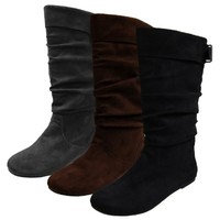Journee Collection Womens Regular Sized and Wide-Calf Slouch Mid-Calf Microsuede Boot Grey 8.5