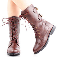 Womens Combat Boots Military Shoes Flat Heels Motorcycle Lace Up Biker Army Moto