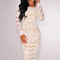 White Mesh Nude Long Sleeve Midi Bodycon Dress