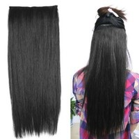 """World Pride Fashionable 23"""" Straight Full Head Clip in Hair Extensions - Black"""