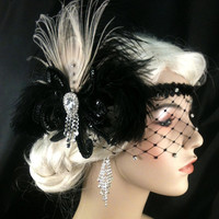 Flapper Headband,1920s Head Piece, Art Deco Headband, Ivory Peacock Feather, Black Ostrich Plumes, Black Sequins, Veil, Great Gatsby