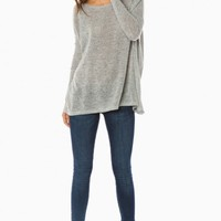 COZY LONG SLEEVE SWEATER IN LIGHT GREY BY PIKO