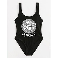 Versace Word Print Women Sexy One Piece Vest Type Bikini Black(white print)