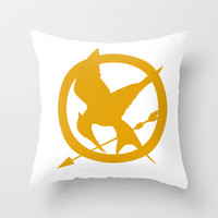 The MockingJay - Gold Throw Pillow by Lauren Lee Designs