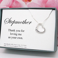 Stepmother necklace gift for stepmom Thank you for loving me as your own Christmas gift Sterling Silver Open Heart necklace