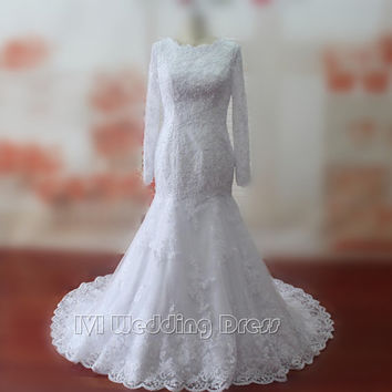 Real Samples Mermaid Wedding Dresses Lace Wedding Gowns Long Sleeves Bridal Gowns Plus Size Bridal Dress