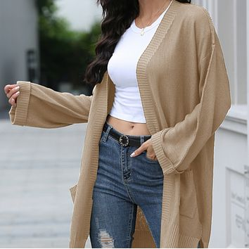Women's new style hot-selling fashion long knit all-match cardigan