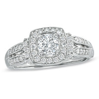 3/4 CT. T.W. Diamond Vintage-Style Engagement Ring in 14K White Gold - View All Rings - Zales