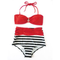 Retro Style Anchor Accent Red Bandeau Top & Red Ruched Stripes High Waist Bikini! Beautifully retro!