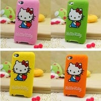For iPod Touch 4th Gen Hello Kitty Soft Silicone Case Cover