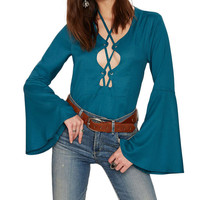 70S Style Blouse With Lace-Up Detail