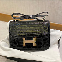 Hermes new crocodile pattern small bag ladies H buckle small square bag