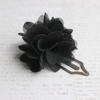 Antique Gold Metal Bookmark Clip with Black Flower Chiffon Poof
