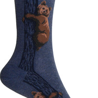 Climbing Bears Crew Socks in Denim Heather