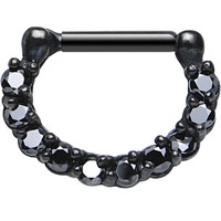 "14 Gauge 5/16"" Black Cubic Zirconia Glamorous Black PVD Septum Clicker 