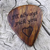 Handmade Premium Laser Engraved Rustic Wood Guitar Pick - Caribbean Rosewood - Actual Pick Shown - Engraved Both Sides