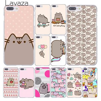 Lavaza cute funny lovely Pusheen Cat Hard Phone Cover Case for Apple iPhone 10 X 8 7 6 6s Plus 5 5S SE 5C 4 4S Coque Shell 1 2