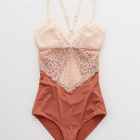 Aerie Lace & Shine Bodysuit , Chestnut