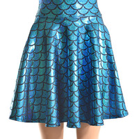 Mermaid Scale Turquoise & Black Hologram Sparkle Skater Skirt -E7440