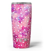White Polka Dots Over Pink Watercolor Grunge - Skin Decal Vinyl Wrap Kit compatible with the Yeti Rambler Cooler Tumbler Cups
