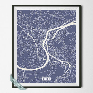 Liege Print, Belgium Poster, Liege Street Map, Belgium Print, Liège, Home Art, Wall Decor, Office Art, Modern Art, Back To School