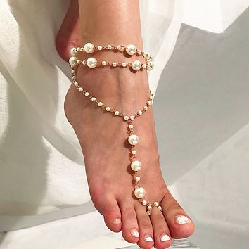 Hot selling jewelry beach anklet simple multi-layer pearl yoga